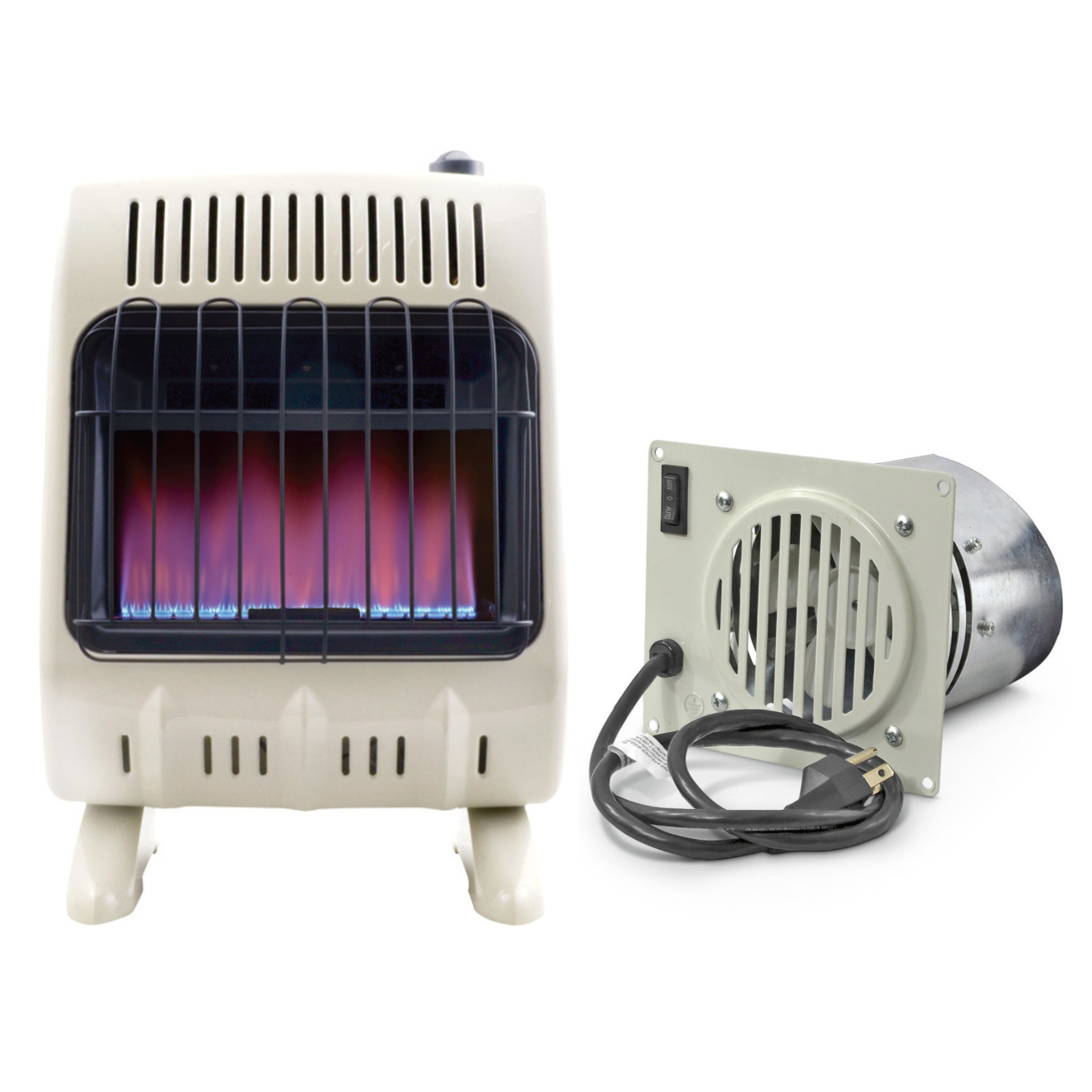 Mr. Heater, 20,000 BTU Vent Free Blue Flame Natural Gas Heater w/Blower