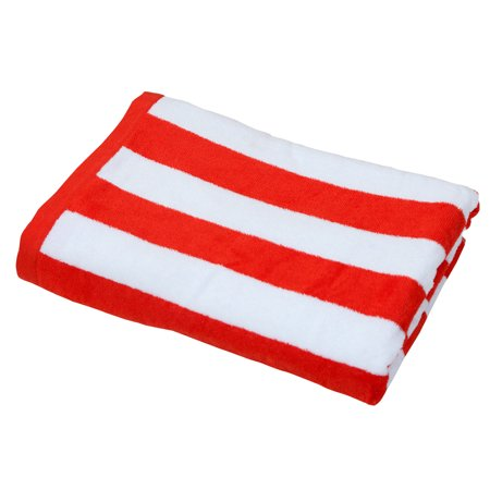 "Red Stripe Cabana Towel (100% Cotton, 30"" x 60"", GSM 425)"