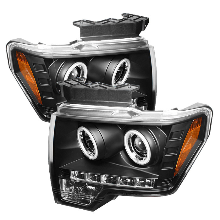 Spyder Ford F150 09-14 Projector Headlights - Halogen Model Only ( Not Compatible With Xenon/HID Model ) - CCFL Halo - LED ( Replaceable LEDs ) - Bla