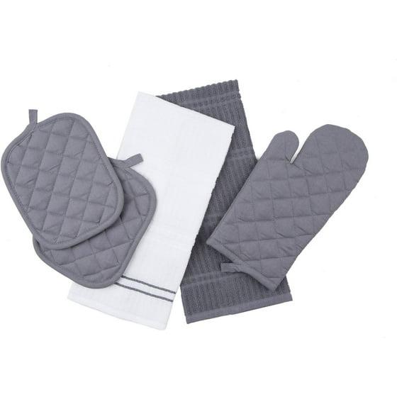 Mainstays Kitchen Towel Oven Mitt And Pot Holder Set Gray