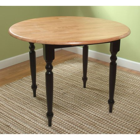 Round Drop-Leaf Dining Table, Black/Natural - Walmart.com
