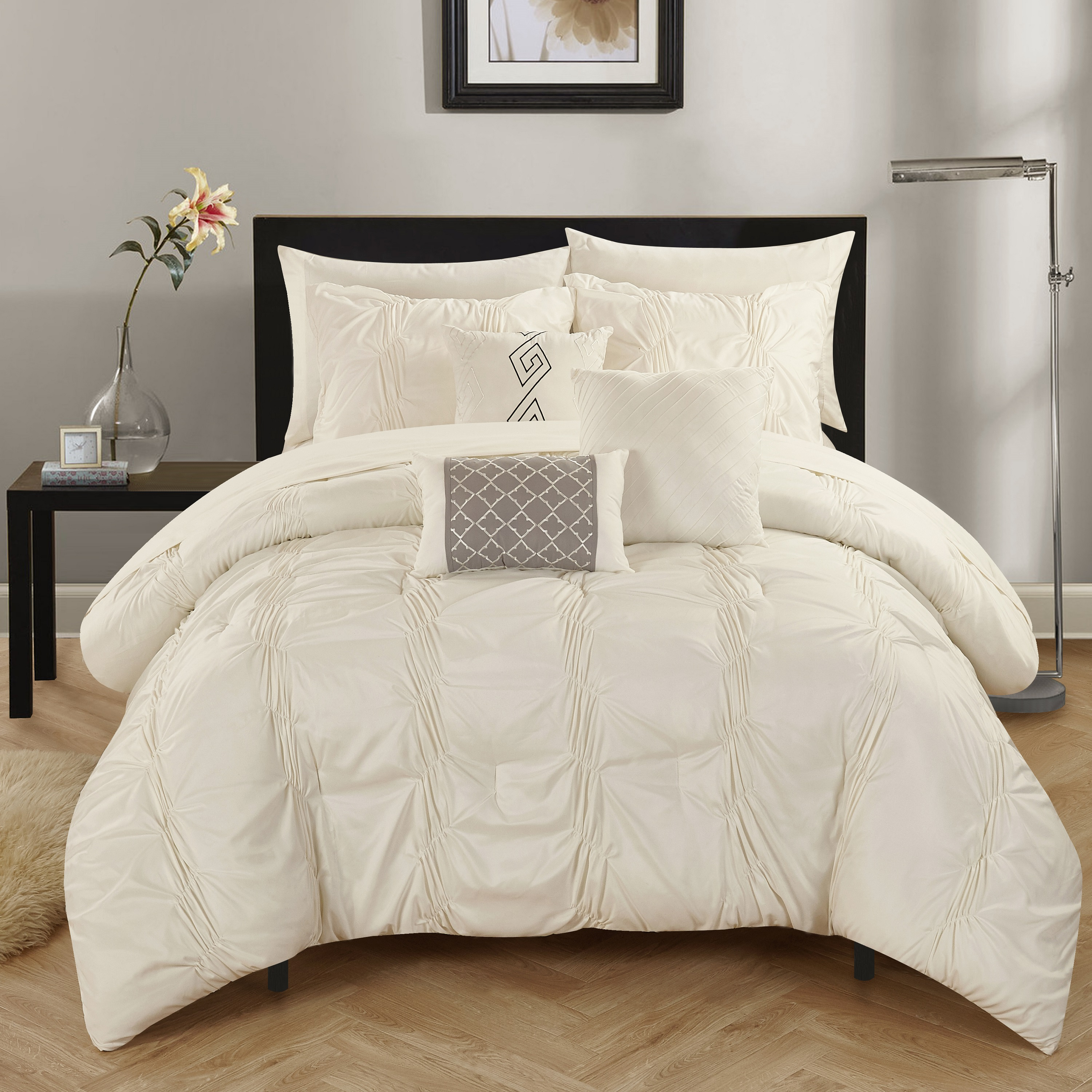 Chic Home 10-Piece Luna Pinch Pleated, ruffled and pleated complete King Bed In a Bag Comforter Set Beige Sheets set and Decorative pillows included