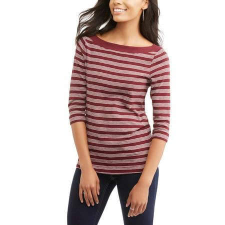 5964ecfc Faded Glory - Women's Classic 3/4 Sleeve Boatneck T-Shirt - Walmart.com