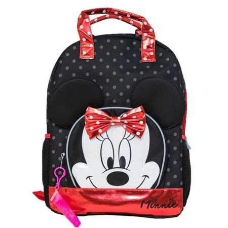 Disney Minnie Mouse Black Polka Dot 16 inch Backpack With Lip Gloss School Bag](Polka Dot Bag)
