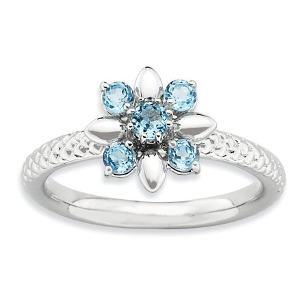 Icecarats 925 Sterling Silver Blue Topaz Band Ring Size 7 00  Stone Stackable Gemstone Birthstone December  Fine Jewelry Gift Valentine Day Set For Women Heart