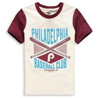 Philadelphia Phillies Youth Timeless Pastime Ringer T-Shirt - Cream/Burgundy
