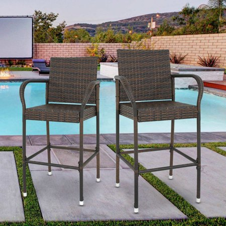 Zeny Wicker Bar Stool Outdoor Backyard Rattan Chair Patio Furniture Chair w/Iron Frame, Armrest and Footrest, Set of 2