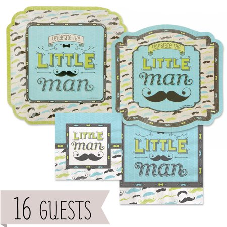 Dashing Little Man Mustache - Party Tableware Plates, Napkins - Bundle for 16 (Mustache Plates)
