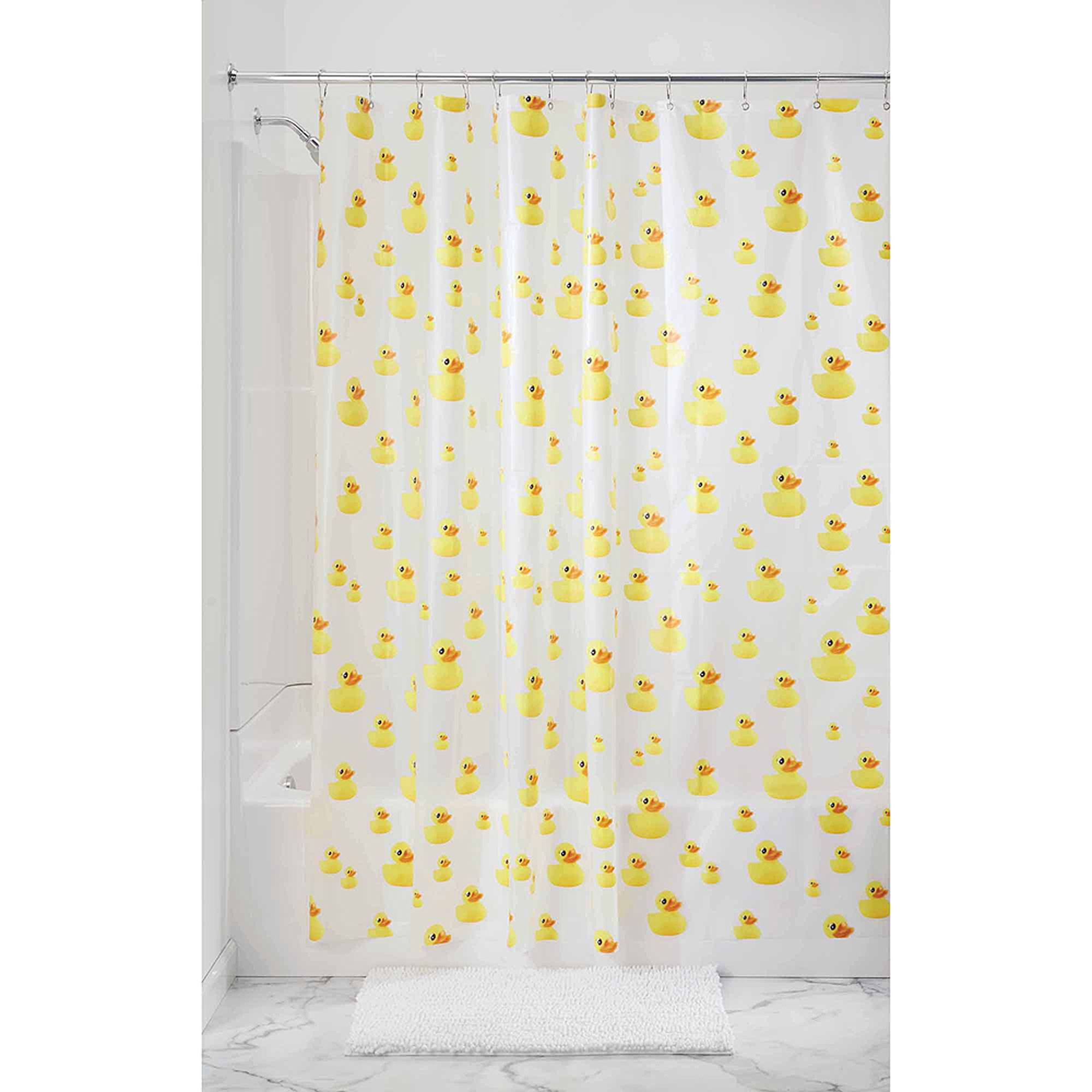 "InterDesign Ducks Frosted PEVA Shower Curtain, 72"" x 72"""