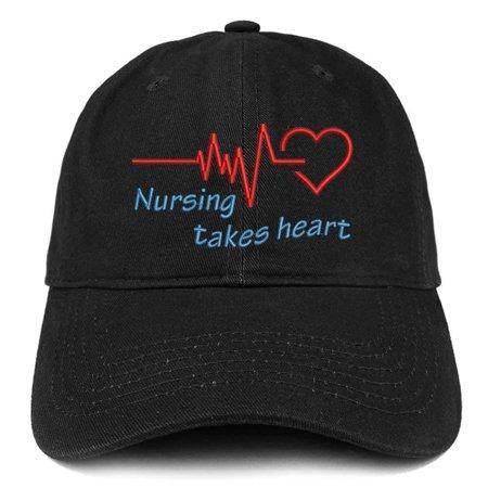 Nursing Hat (Trendy Apparel Shop Nursing Takes Heart Embroidered Brushed Cotton Dad Hat Ball Cap -)