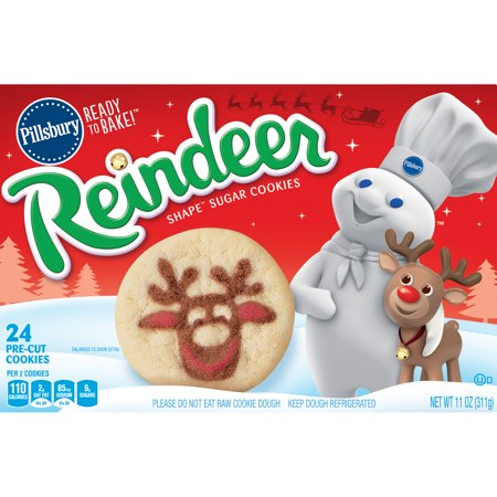 Pillsbury Ready To Bake Reindeer Shape Sugar Cookies Walmart Com
