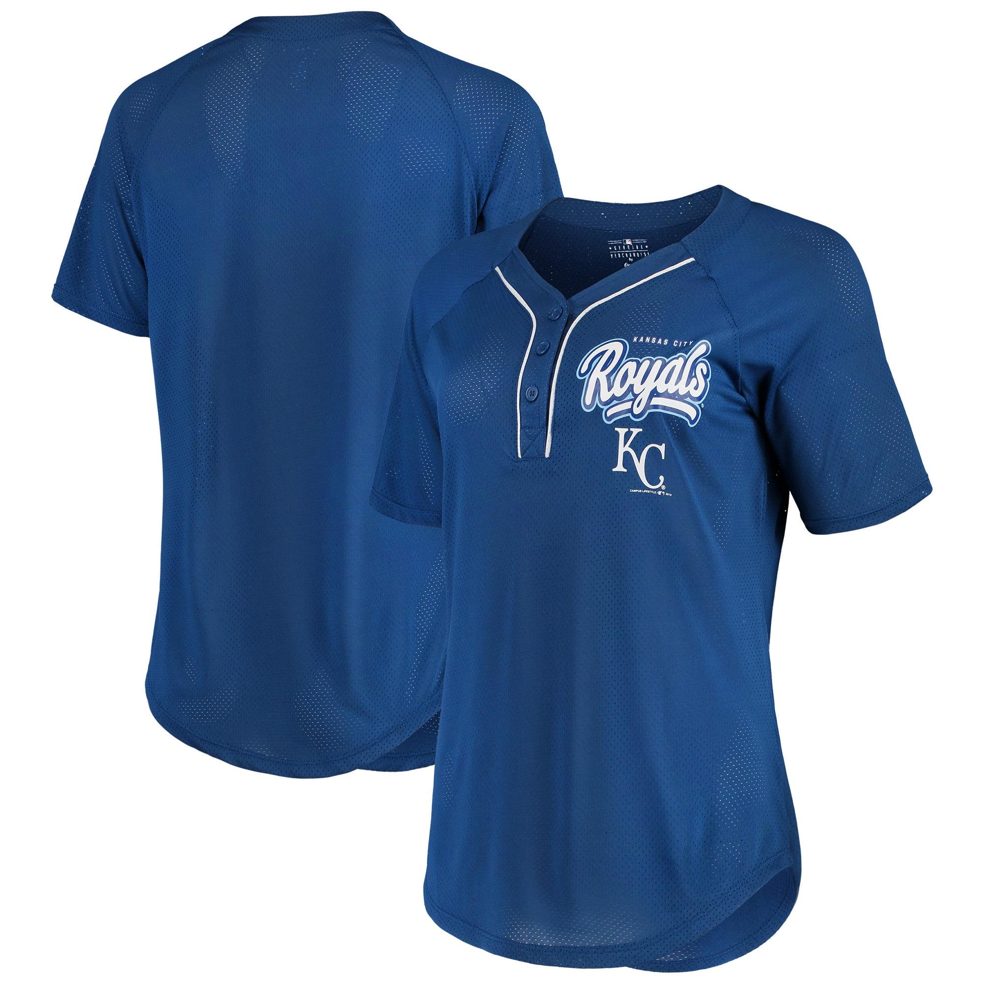Women's New Era Royal Kansas City Royals Henley Mesh Jersey T-Shirt