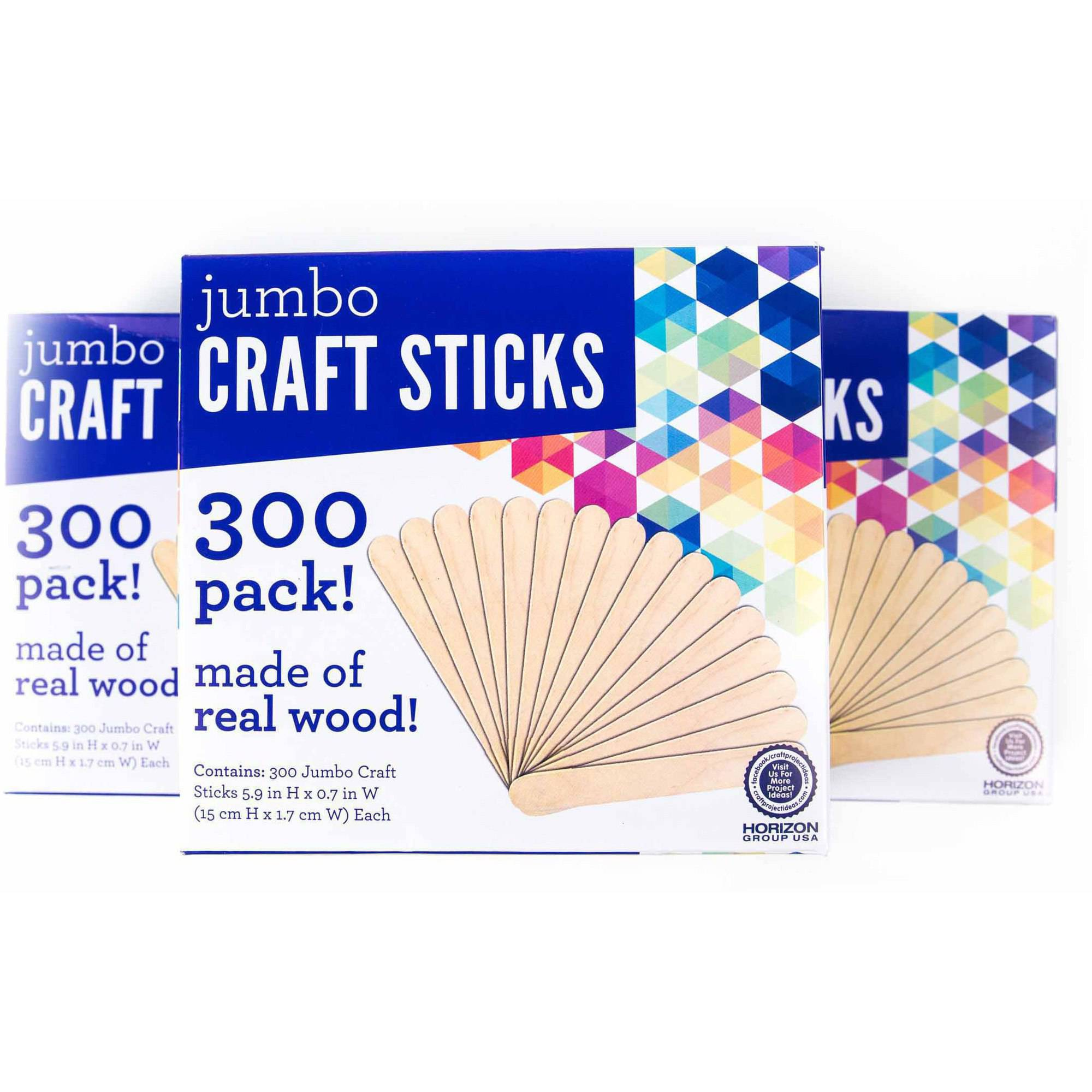 Horizon Group USA Jumbo Wood Craft Sticks 300 CT, 3pk