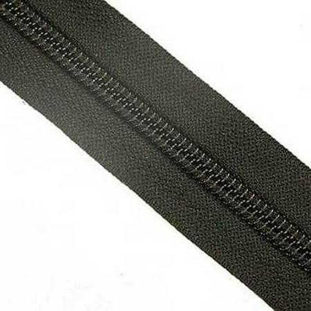 #5C YKK Nylon Zipper Tape - By The Yard - Black Black Leather Zipper