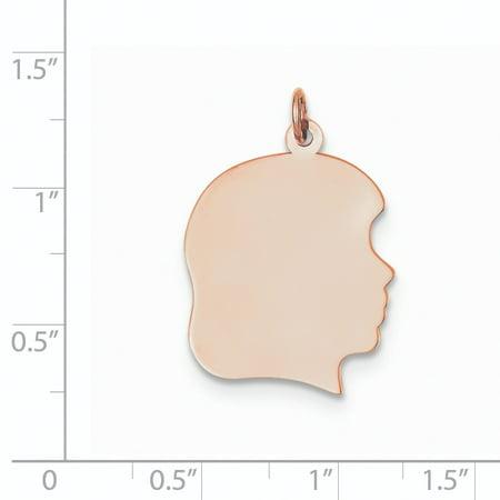 14K Rose Gold Plain Large .011 Gauge Facing Right Engraveable Girl Head Cha - image 1 de 3