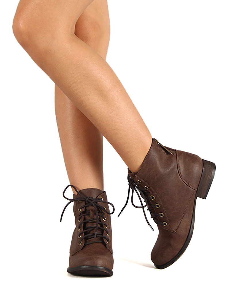 bed7bddd68888 Breckelles - Breckelles BD90 Women Leatherette Military Lace Up Ankle Bootie  - Walmart.com
