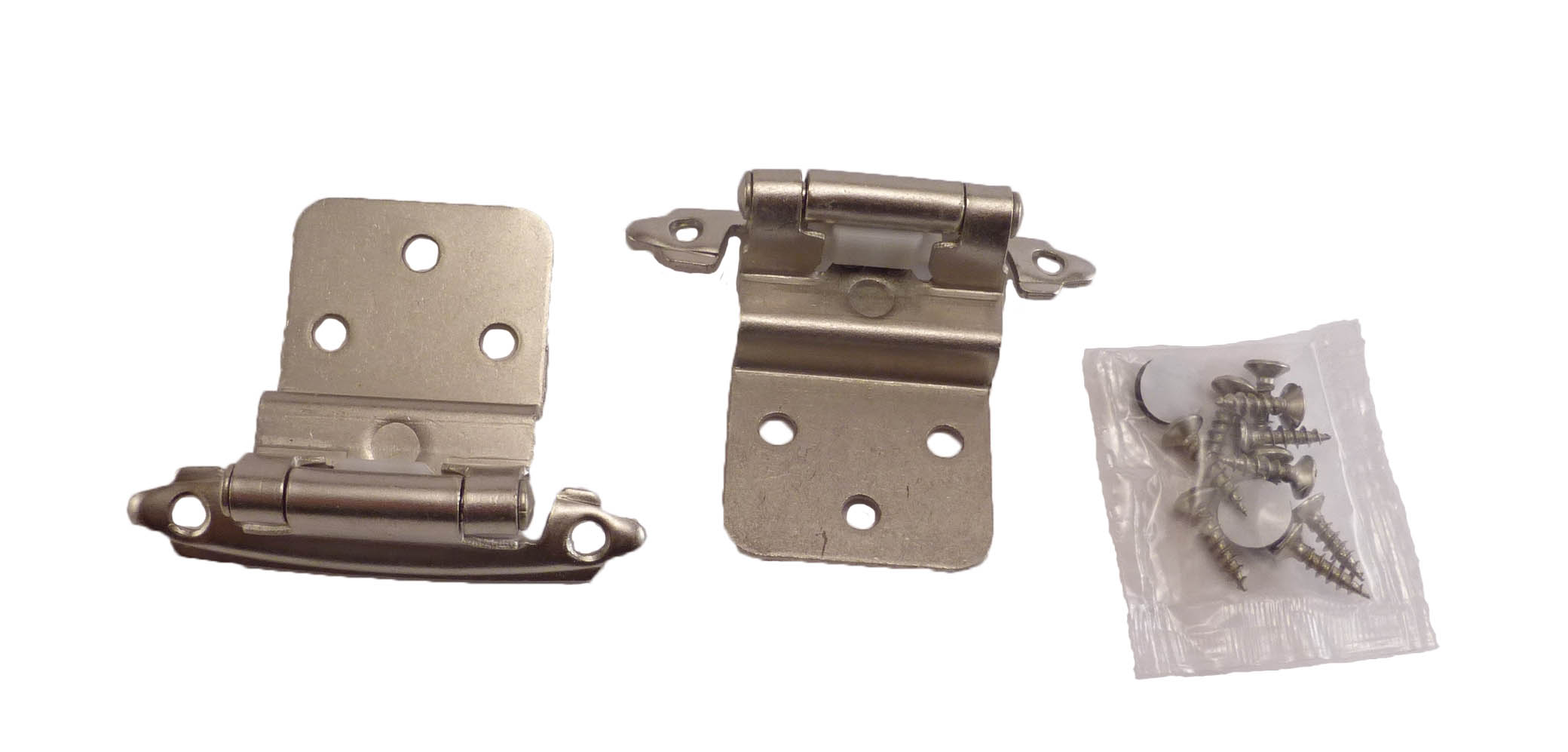 25 Pair 50 Pcs Self Closing Cabinet 3 8 Offset Inset Hinges Satin Nickel 62726 by East West Consolidated