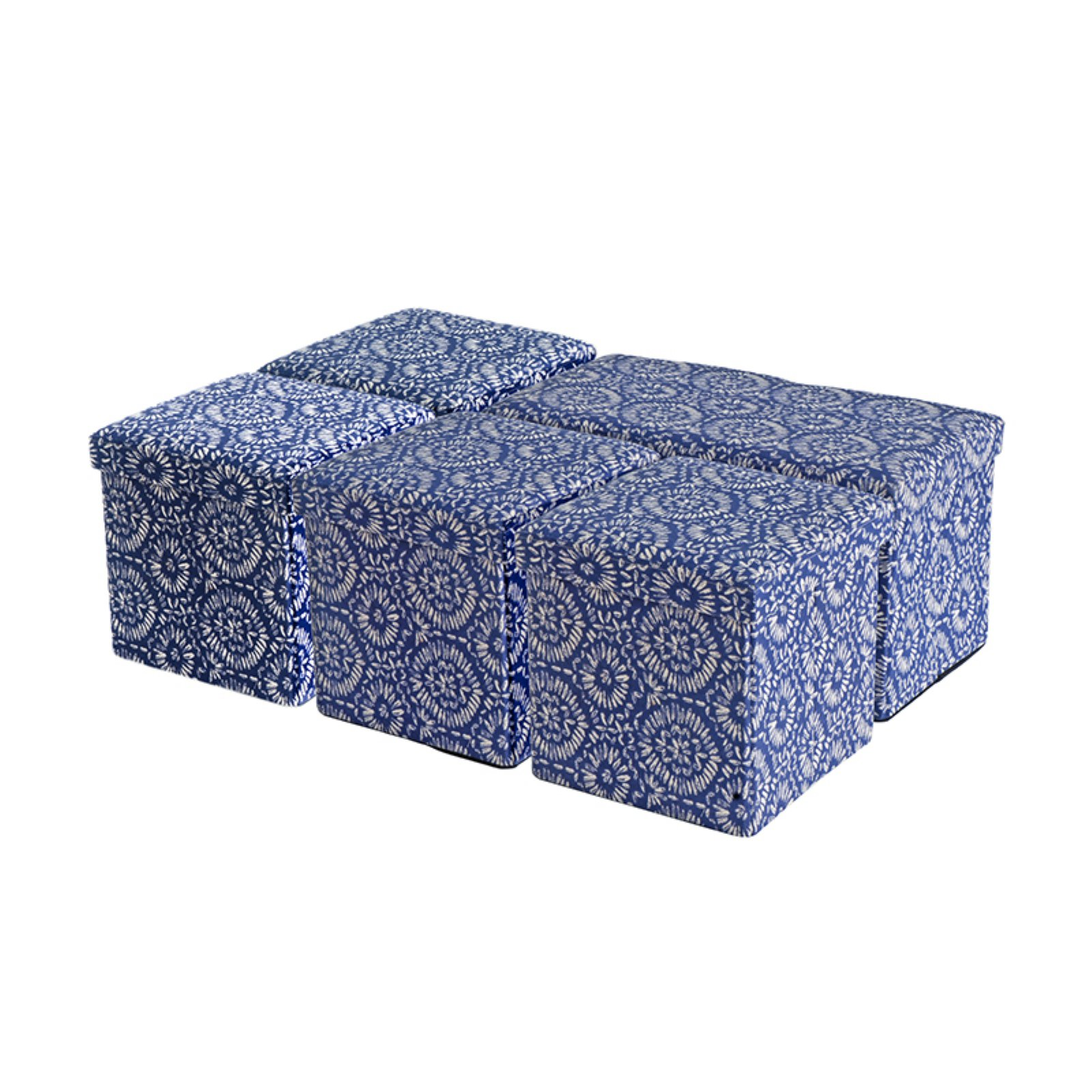 Creative Living 5 Piece Folding Storage Bench and Ottoman Set - Blue