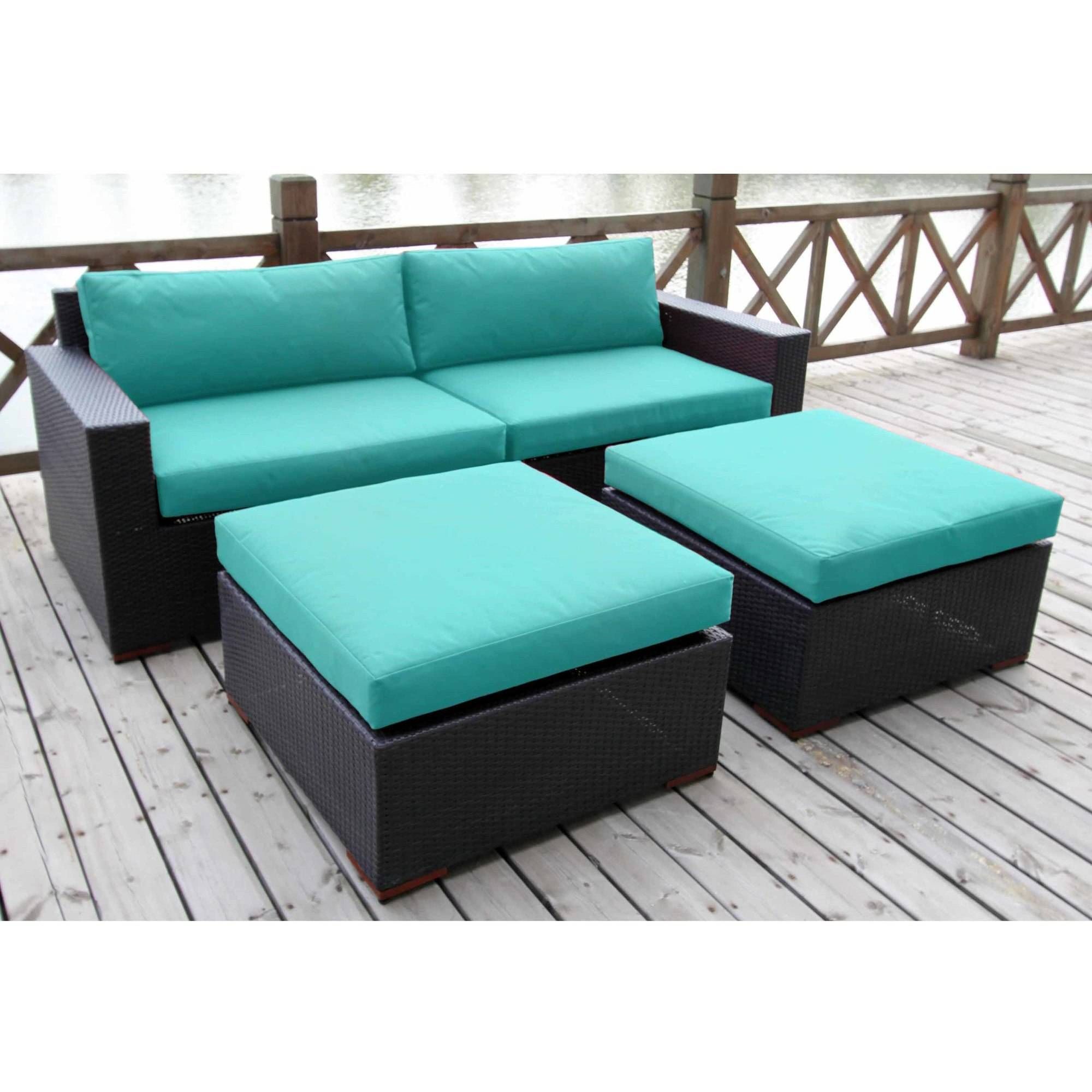 Bellini Home and Gardens Primland Wicker 4 Piece Patio Deep Seating Sofa and Ottoman Chat Set