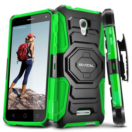 Alcatel Onetouch Fierce 4 Case  Evocel  New Generation  Rugged Holster Dual Layer Case  Kickstand  Belt Swivel Clip  For Alcatel Onetouch Fierce 4   Green