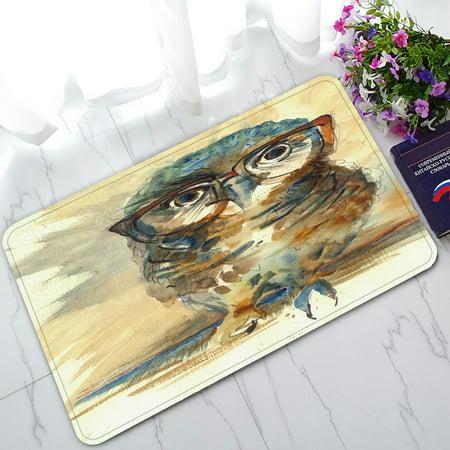 PHFZK Bird Animal Doormat, Colorful Owl Art Night Owl Doormat Outdoors/Indoor Doormat Home Floor Mats Rugs Size 30x18 inches