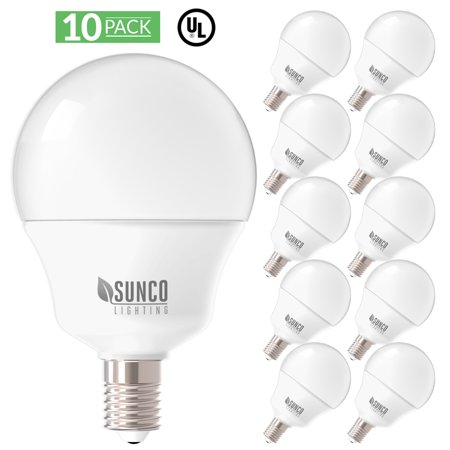 Sunco Lighting G14 LED Candelabra Bulb E12 Base Frosted 4000K