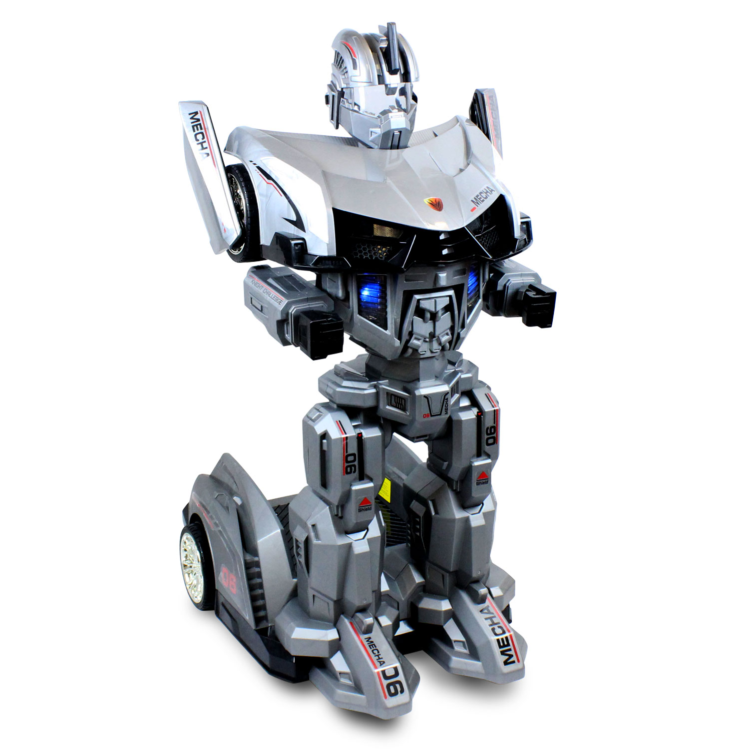 Robot Ride On Car Toy Silver Transforming Remote Controlled Electric Ride-On Toy for Kids Ages 7 to 12