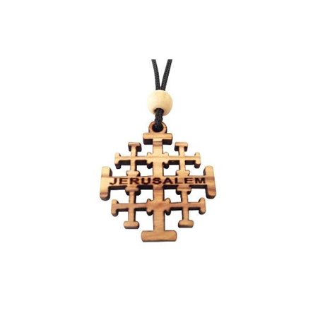 Hand-crafted Olive Wood JERUSALEM CROSS Pendant Necklace, by Holy Land