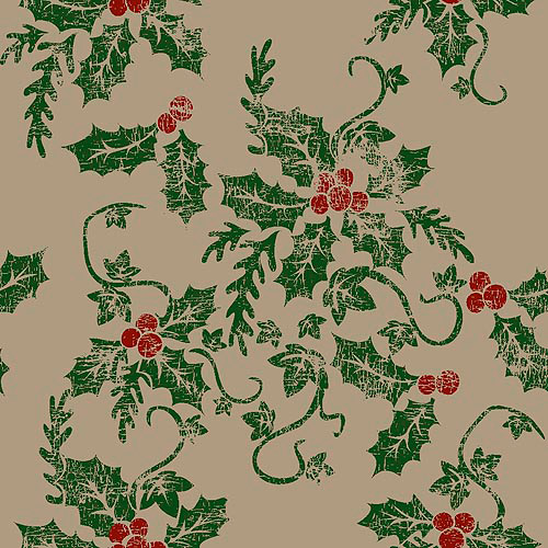 Springs Creative Burlap Print Christmas Holly Berries Fabric By The Yard