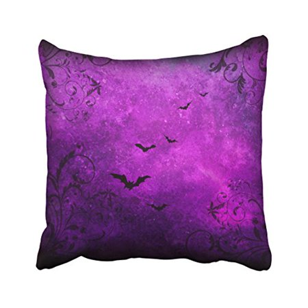 WinHome Vintage Elegant Glitter Purple Bats And Swirls Polyester 18 x 18 Inch Square Throw Pillow Covers With Hidden Zipper Home Sofa Cushion Decorative Pillowcases