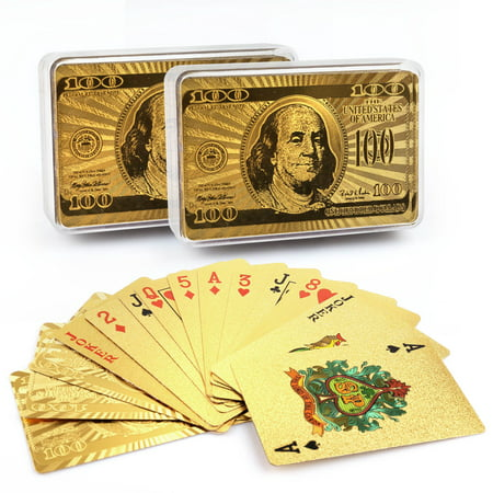 Cool 24K Gold Foil Playing Cards, 2 Decks of Cards with Plastic Cases, Waterproof Plastic Cards for Pinochle, Canasta Cards Games, Magic Props, Great (24k Gold Plated Playing Cards With Case)