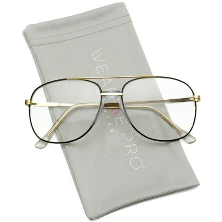 WearMe Pro - Gold Metal Aviator Nerd Glasses Retro Hipster Vintage Style Clear (Vintage Hipster Glasses)