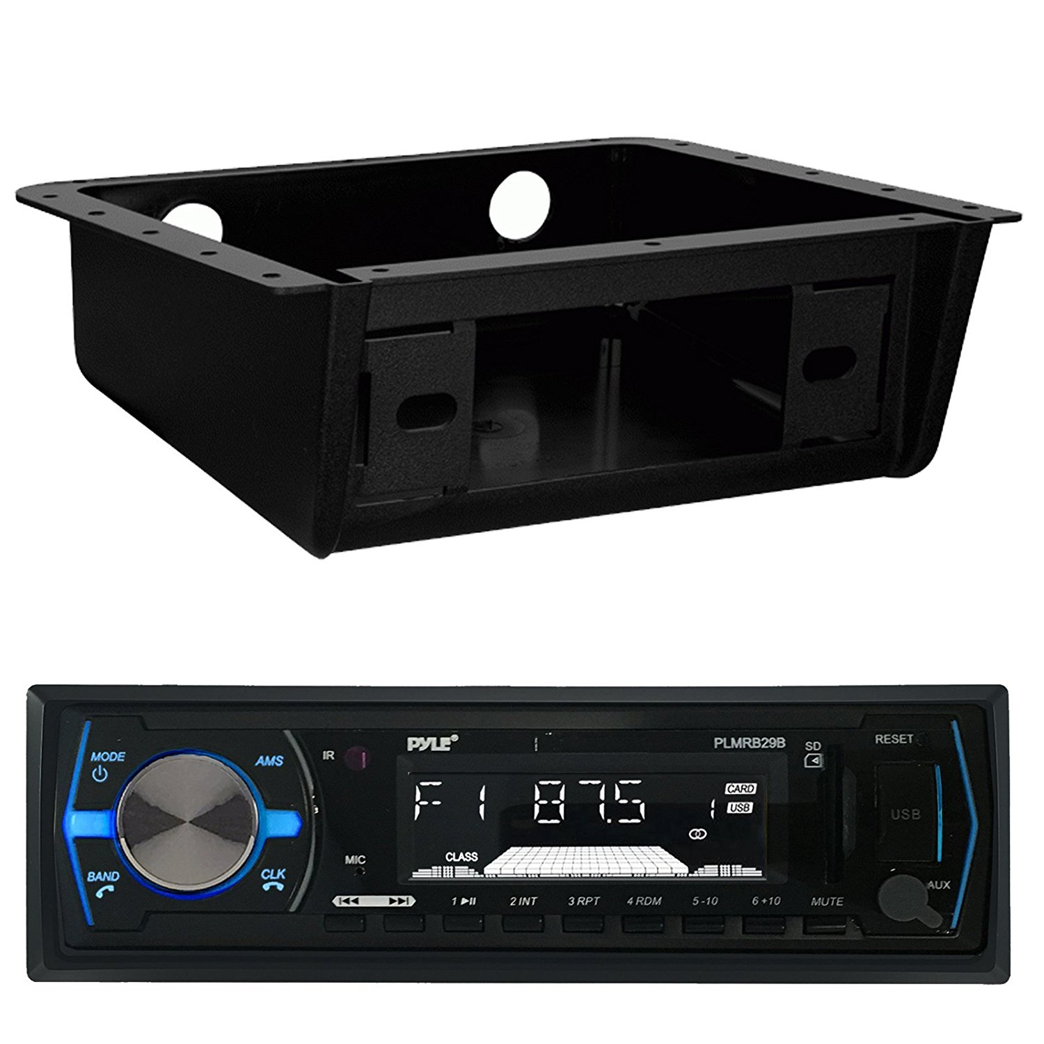 Pyle PLMRB29B Bluetooth MP3 USB AUX SD Card In-Dash Stereo AM/FM Radio Single Din Black Headunit Receiver Player Bundle Combo With Metra 99-9000 Universal Underdash Stereo Housing