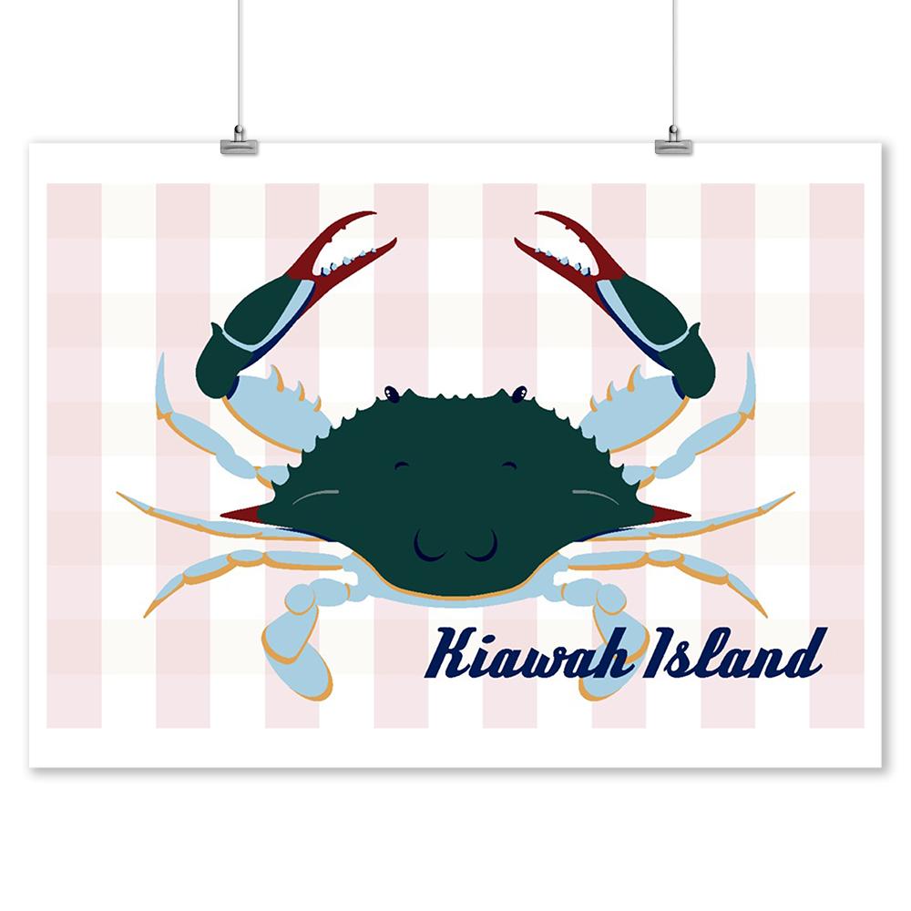 Kiawah Island, South Carolina - Blue Crab - Vector Style - Lantern Press Artwork (9x12 Art Print, Wall Decor Travel Poster)