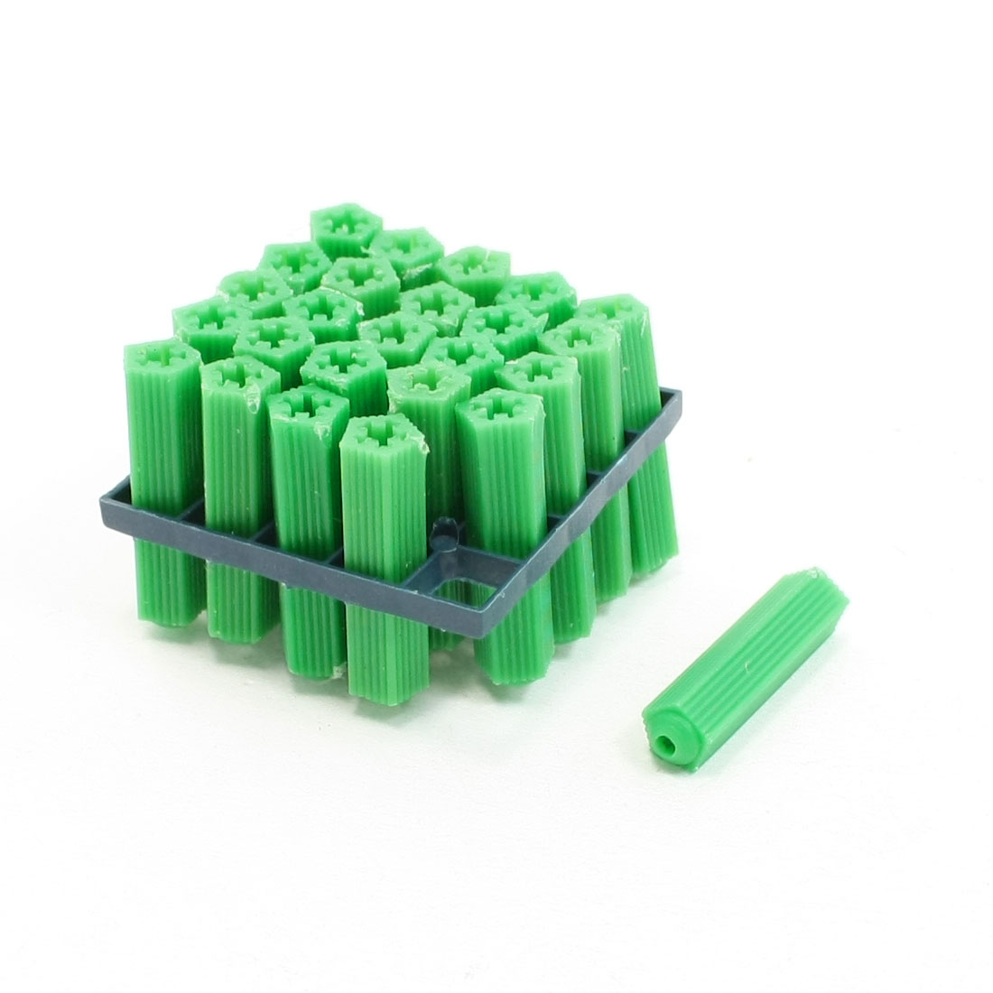 Unique Bargains 25 Pcs Screw Fixing Green 8mm Nonslip Plastic Wall Plugs
