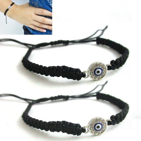 2 Pc Kabbbalah Macrame Black Silver Bracelet Evil Eye Blue Hamsa Luck Charm Hand - Macrame Bracelet Instructions