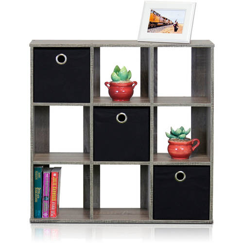 Furinno Simplistic 9-Cube Organizer with Bins, Multiple Colors