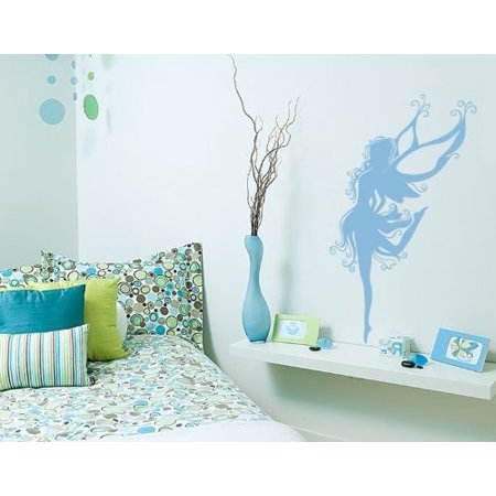 Ballerina Fairy Wall Decal - wall decal, sticker, mural vinyl art home decor - 4160 - Gray, 47in x 74in -  Style and Apply, 3155-147421-147408
