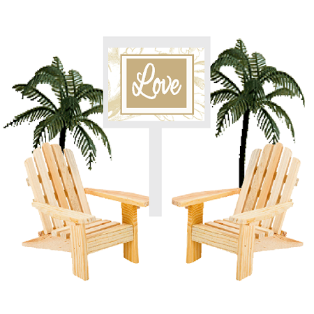 Love Sign with Unfinished Mini Beach Adirondack Wood Chairs Cake Decoration Toppers with Palm Trees](Beach Cake Topper)