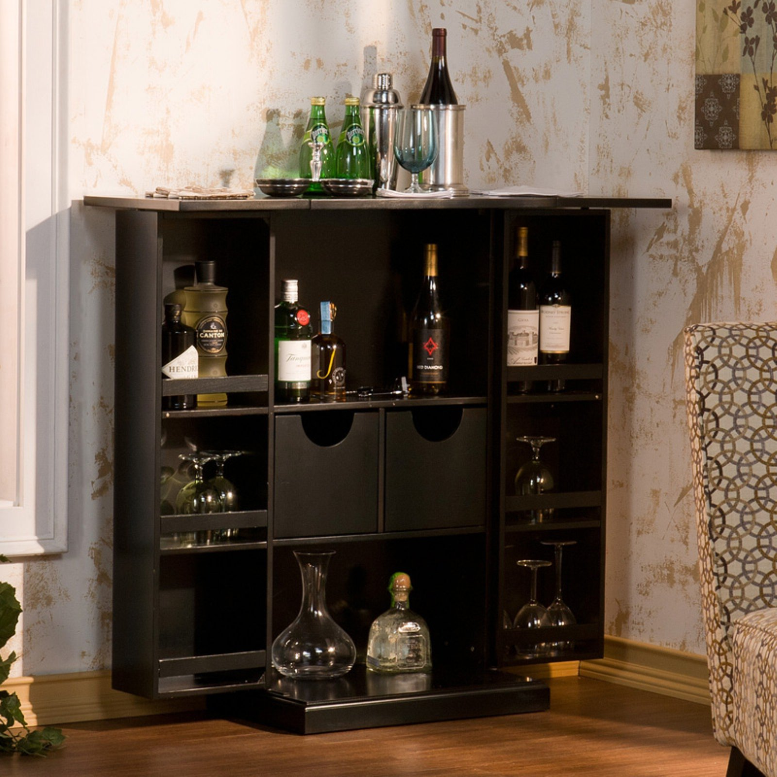 Southern Enterprises Branford Fold Away Wine Bar - Black