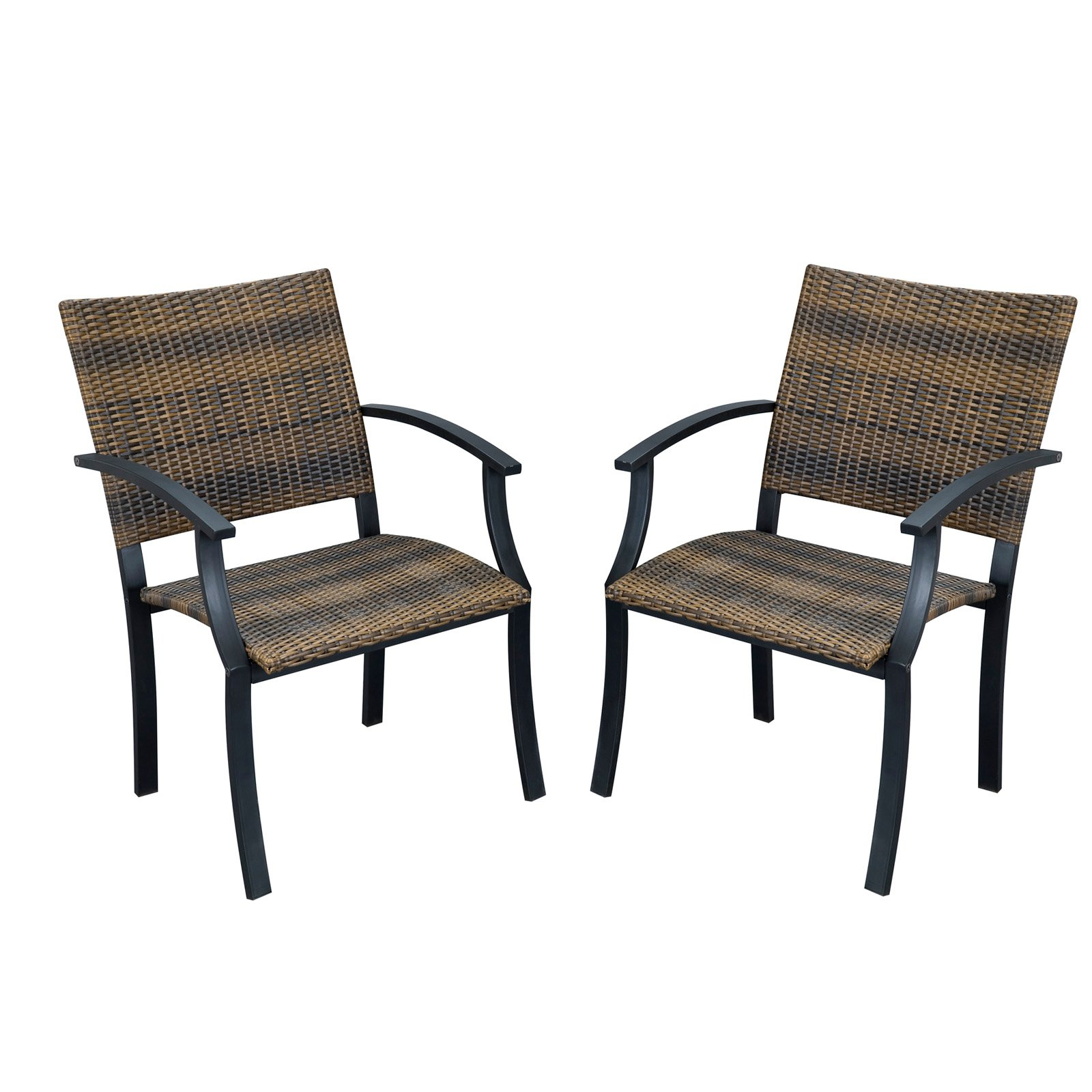 Home Styles Newport Outdoor Arm Chairs Set Of 2 Black Brown