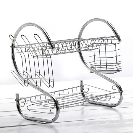 2 Tier Chrome Plated Dish Organizer Metal Dish Mug Cutlery Cup Drying Drainer Rack Drip Tray Plates Holder Large Kitchen Storage