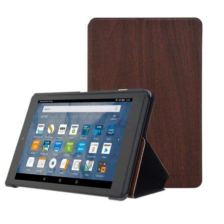 Mosiso Case for All-New Amazon Fire HD 8 Tablet(2017 Release Only), Light Weight Multi-Viewing Folio Folding Stand Shockproof Protective PU Leather Cover with Auto Wake/Sleep,Deep Brown Wood (Folding Wayfarer Case Only)