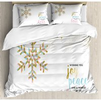 Joy Duvet Cover Set, Christmas Pattern with Polygonal Snowflake with Peace Love Quote Ornate, Decorative Bedding Set with Pillow Shams, Sepia Baby Pink Pale Blue, by Ambesonne