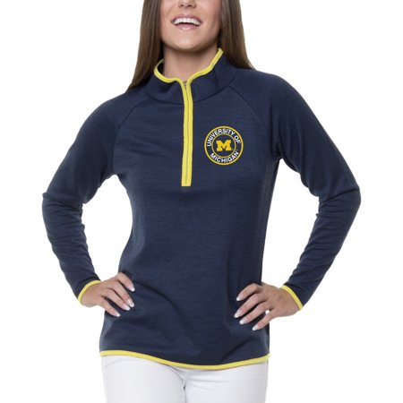 Women's Heathered Navy Michigan Wolverines Double Ring 1/4-Zip - Ring Mistress Jacket
