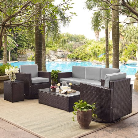 Crosley Outdoor Wicker Sofa Conversation Grey Cushions Sofa