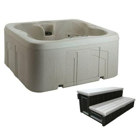 LifeSmart Getaway 4-Person Hot Tub Spa with Matching Spa Step