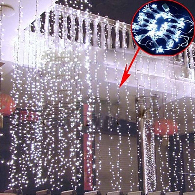 AGPtek 6Mx3M Linkable Fairy Curtain Lights Strings Connectable LED Lights 8 Lighting Modes White by AGPtek
