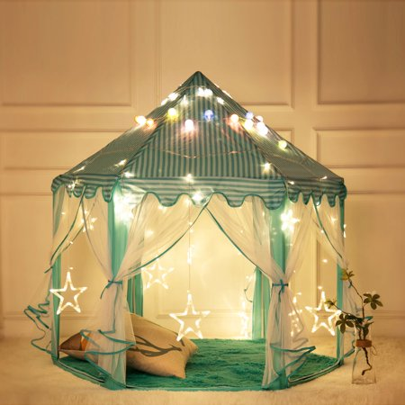 WALFRONT 1.4m Dia Chun Yafang Hexagon Princess Tent Fairy Kids Play Tent with Star Lights Pink, 210T Pongee Fashionable Lovely Princess Castle Play House Large Outdoor Kids Play Tent for Girls Blue