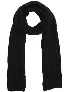 Soft Handmade Knit Winter Long Scarf Neck Warmer for Men,Black